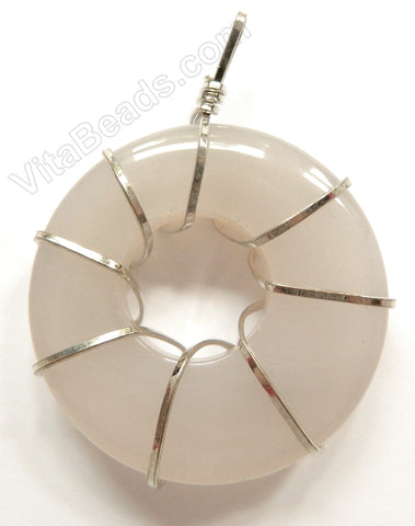 Natural Agate Donut Pendant w/ Wire Bail - White Agate