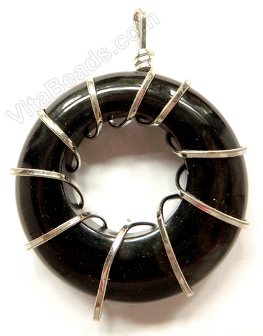 Natural Agate Donut Pendant w/ Wire Bail - Black Agate