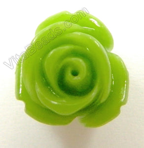 Carved Small Rose Pendent Synthetic Olive Jade