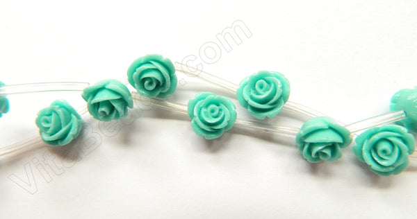 Blue Turquoise Stone  -  Carved Rose Strand  10""