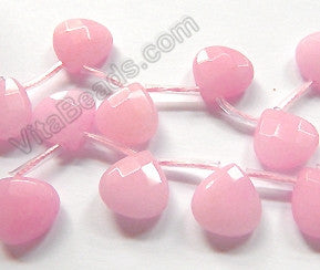 Rose Pink Jade  -  13mm Flat Faceted Briolette 16""