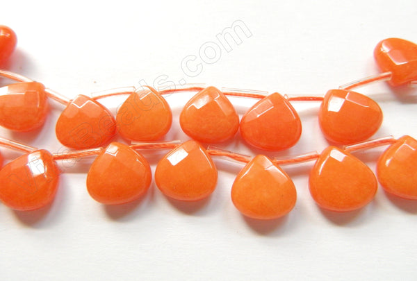 Red Aventurine Jade  -  13mm Flat Faceted Briolette 16""