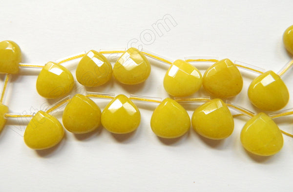 Olive Jade  -  13mm Flat Faceted Briolette 16""