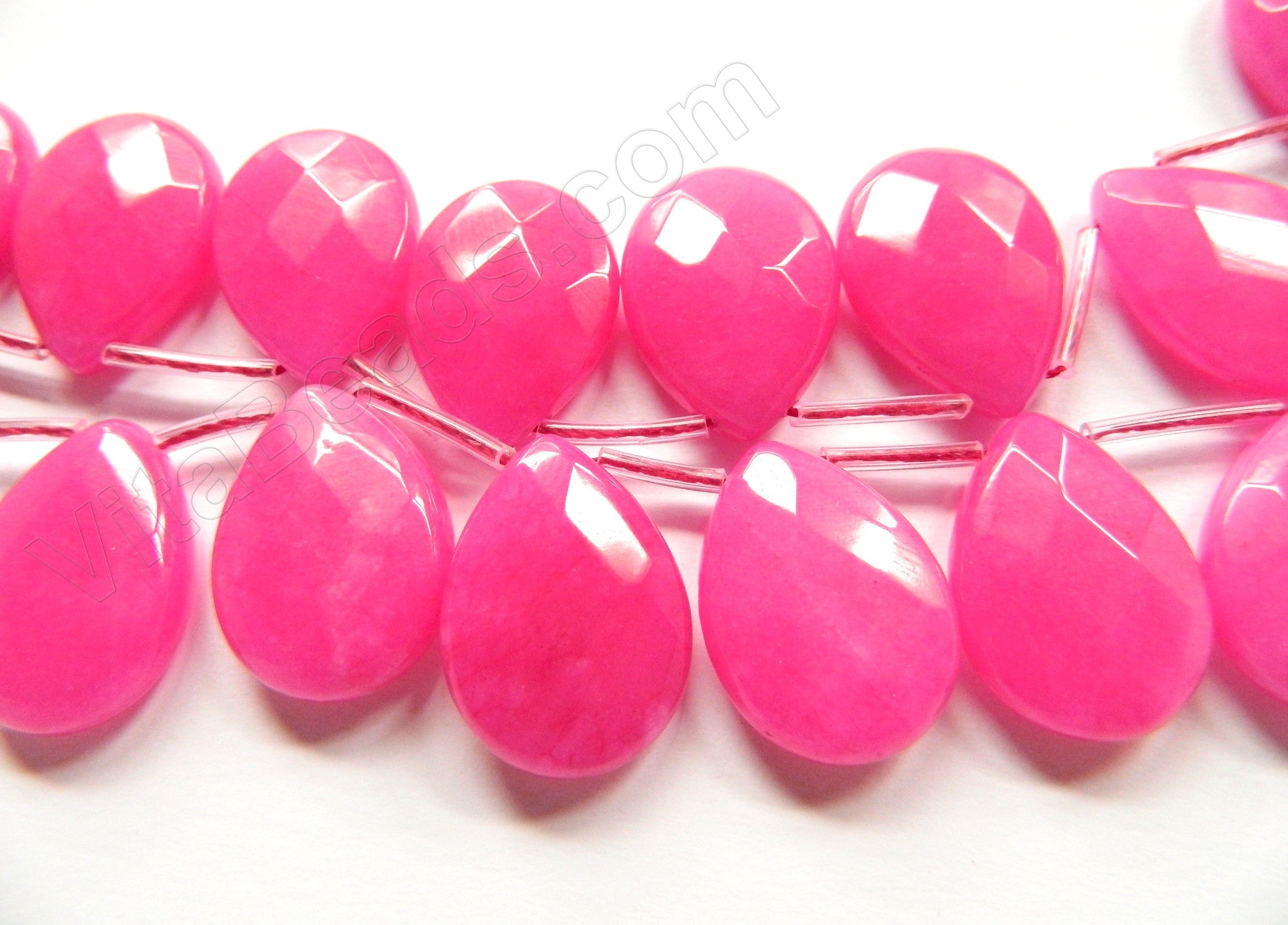 Pink Fuchsia Jade 46 -  18x25mm Faceted Flat Briolette  8""