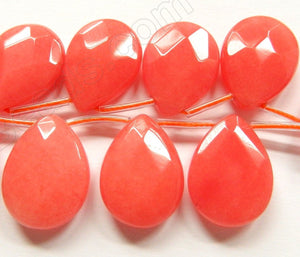 Red Peach Jade 16 -  18x25mm Faceted Flat Briolette  8""
