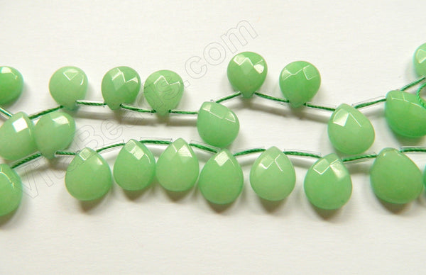Light Green Jade 21  -  Faceted Flat Briolette