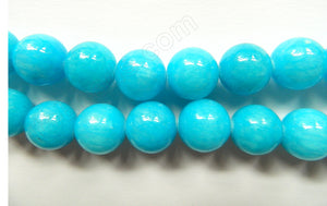 Aqua Mashan Jade  -  Big Smooth Round Beads  16""