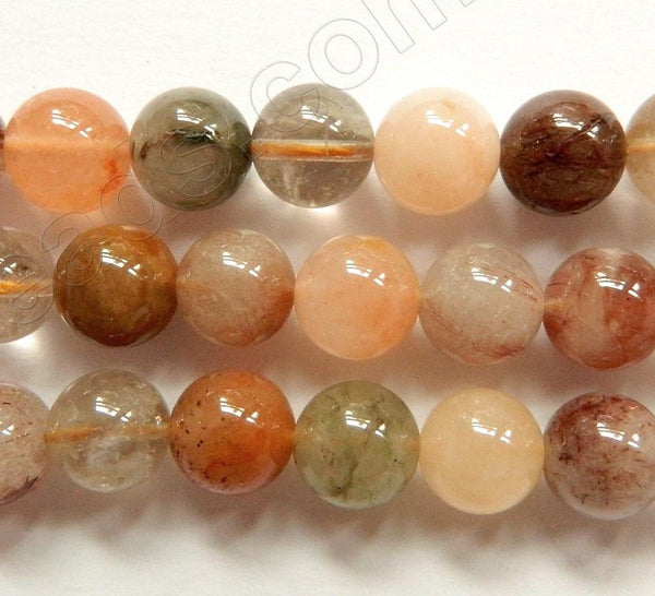 Mixed Rutilated Quartz Natural AAA  -  Smooth Round Beads  16""