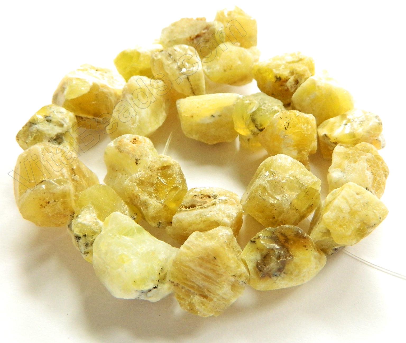 "Big Tumble Strand 16"" Rough Yellow Opal"