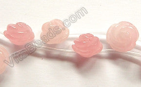 Rose Quartz  -  Carved Rose Flower Beads  16""