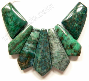 Azurite Malachite - Green 7-Piece Set Slab Pendant
