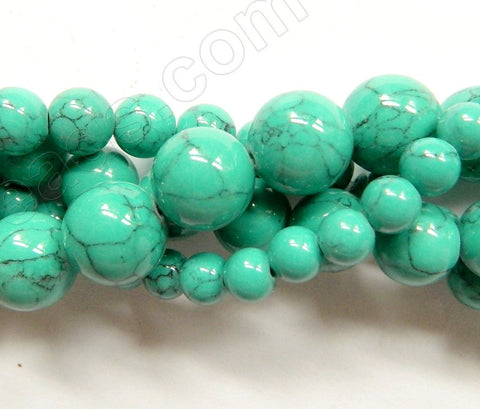 Synthetic Green Turquoise w/ Black Matrix  -  Smooth Round Beads  16""