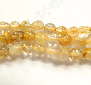 Golden Rutilated Quartz Natural A  -  6-8mm Small Smooth Tumble  16""