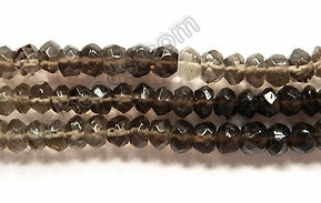 "Multi Smoky Topaz  -  Faceted Button  14.5""    5mm"