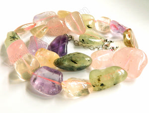 Mixed Qtz - Rose Qtz, Prehnite, Amethyst, Citrine   Tumble Statement Necklace 18-20""