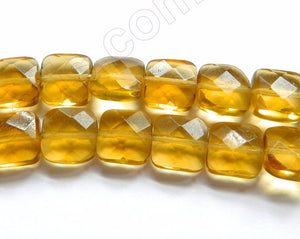Amber Crystal Qtz (Synthetic)  -  Faceted Squares  16""