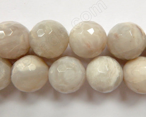 White Crazy Lace Agate A  -  Faceted Round   15""