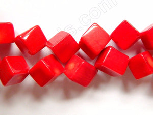 Big Red Coral   -  Di-drilled Cubes 16""
