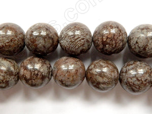 Chinese Unakite / Brown Snowflake Obsidian  -  Smooth Round 16""