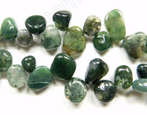 Moss Agate  -  Smooth Drop Nuggets 16""