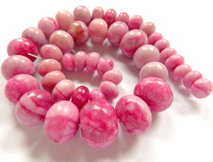 "Light Fuchsia Turquoise   Graduated Smooth Drum Strand 16""    7x10mm - 15x20mm"