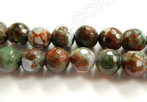 Dark Brown Green White Fire Agate  -  Faceted Round  15""