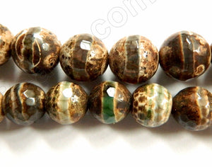 DZi Agate Dark Turtle w/ Line  -  Faceted Round  15""