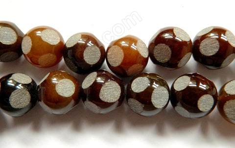 Brown Turtle Fire Agate w/ Matte Dot  -  Big Round Beads  16""