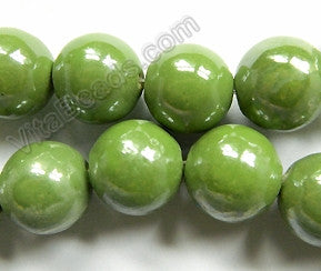 Porcelain - Plated Green - Big Smooth Round Beads  16""