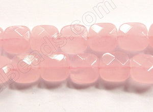 Rose Quartz AA  -  Faceted Squares  16""