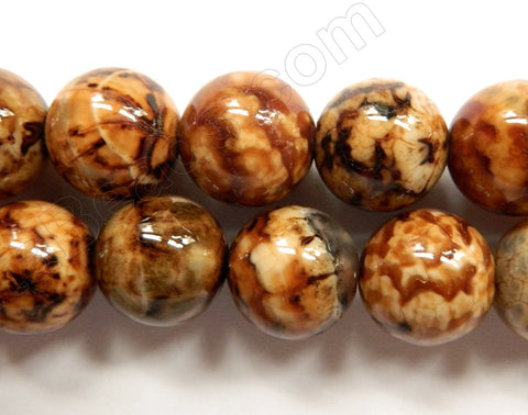 Coffee Fire Agate Dark  -  Big Smooth Round Beads  15""