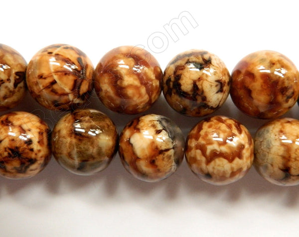 Coffee Fire Agate  -  Smooth Round Beads  16""
