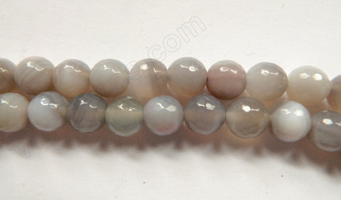 Light Lavender Grey Botswana Agate  -  Faceted Round