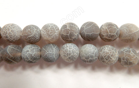 Frosted Grey Fire Agate  -  Big Smooth Round  Beads  16""