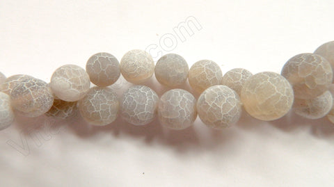Frosted Light Grey Fire Agate  -  Smooth Round Beads  16""