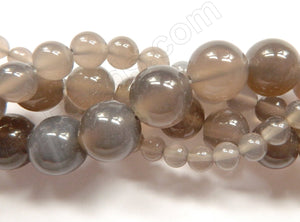 Grey Agate  -  Smooth Round Beads  16""