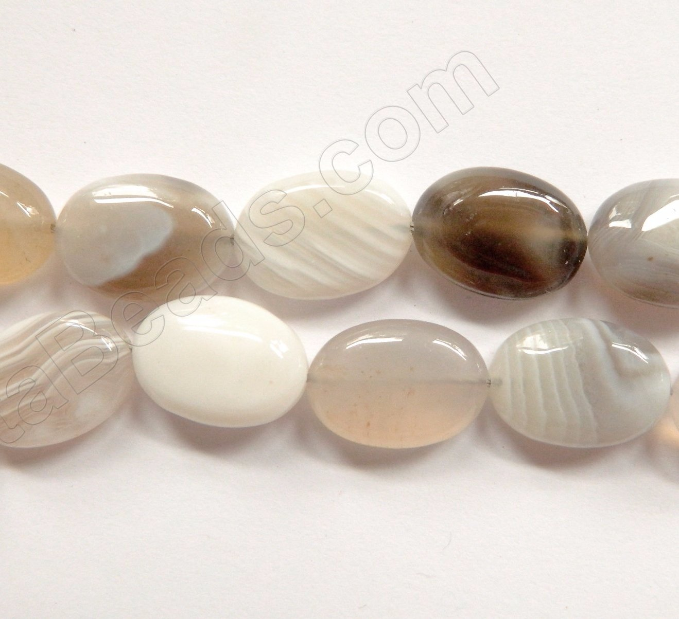 Natural Agate w/ Black  -  Puff Ovals  16""