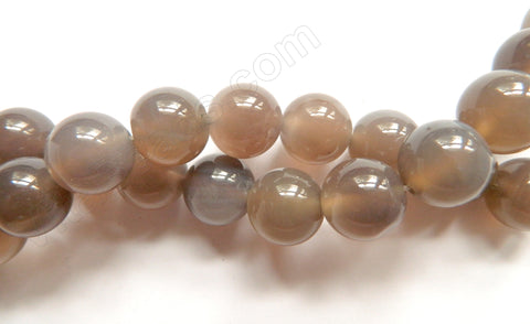 Grey Agate AA -  Big Smooth Round Beads 16""