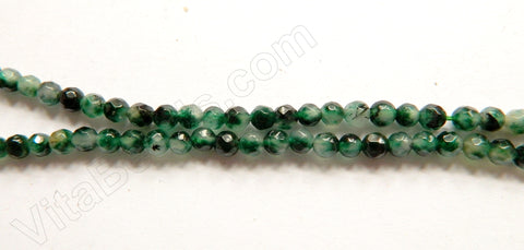 Dark Moss Green Jade  -  Faceted Round  15""