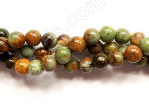 "Green Opal AAA  -  Smooth Round Beads 16""    6 mm"