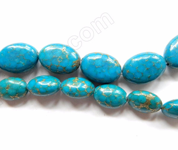 Turquoise Prase Pyrite  -  Puff Ovals  16""