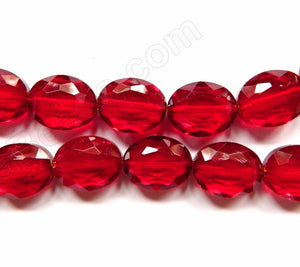 Dark Red Win. Crystal Qtz  -  Faceted Ovals