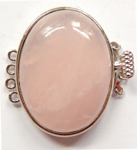 Rose Quartz Oval Clasps Quadruple Strand