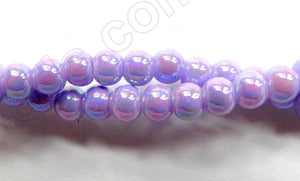 AB Coated Lavender Crystal Qtz  -  Smooth Round  15""
