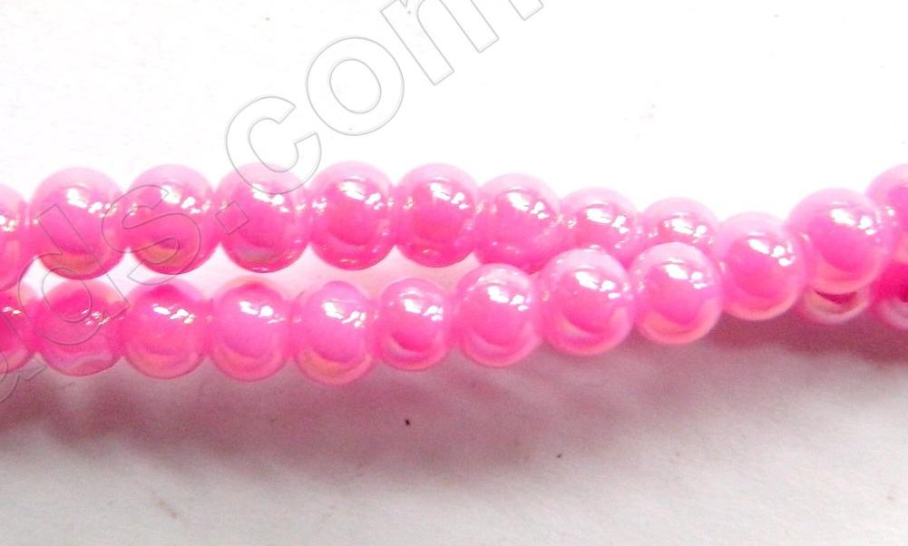 AB Coated Fuchsia Crystal Qtz  -  Smooth Round  15""