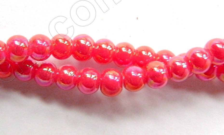 AB Coated Red Crystal Qtz  -  Smooth Round  15""