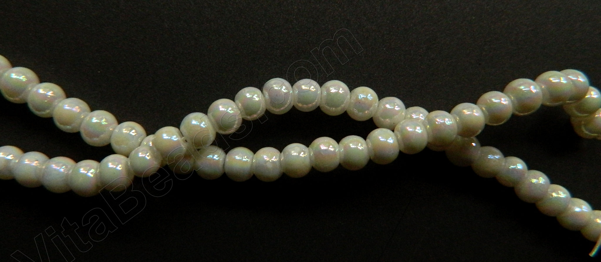 "AB Pearl Coated White Crystal Quartz  -  Smooth Round  15""      4 mm"