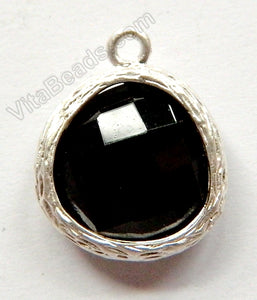 Faceted Heart Pendant Zinc Alloy Black Crystal