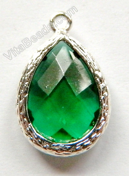Faceted Teardrop Pendant Zinc Alloy Green Crystal