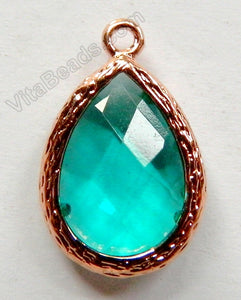 Faceted Teardrop Pendant Bronze Zinc Alloy Emerald Crystal